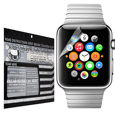 DFlectorshield Premium Scratch Resistant Screen Protector (3 PACK) for the Apple iWatch (38MM ONLY) HD Protection with free Lifetime Replacement Program