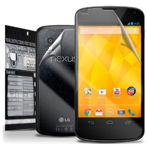D-Flectorshield Super Clear Scratch Resistant LG GOOGLE NEXUS 4 Screen Protector & Full Body Shield - Free Replacement Program