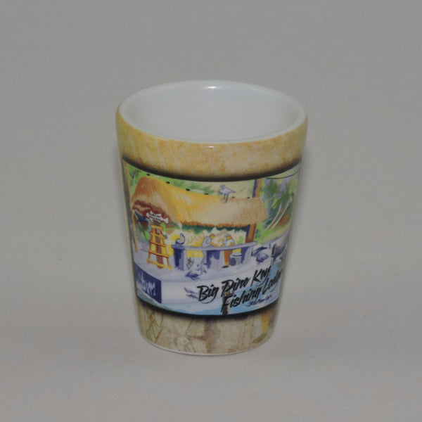 Ceramic shot glass with BPKFL logo