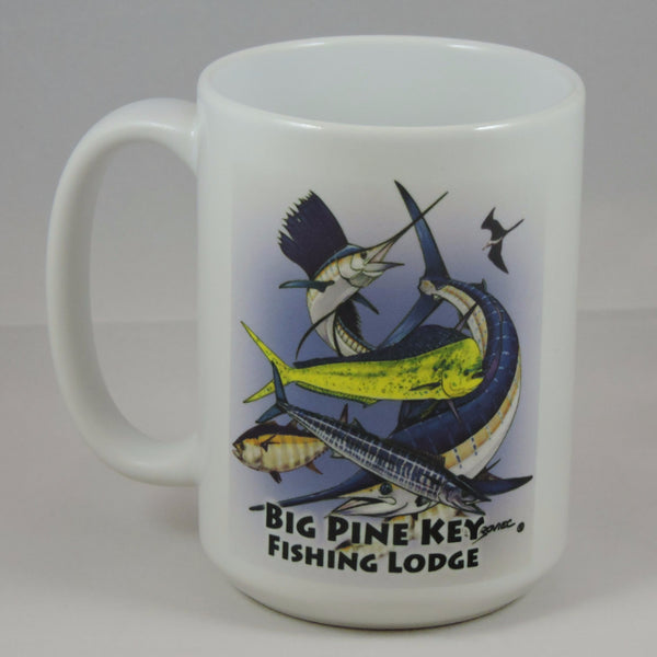 Ceramic coffee mug with fish design/BPKFL logo