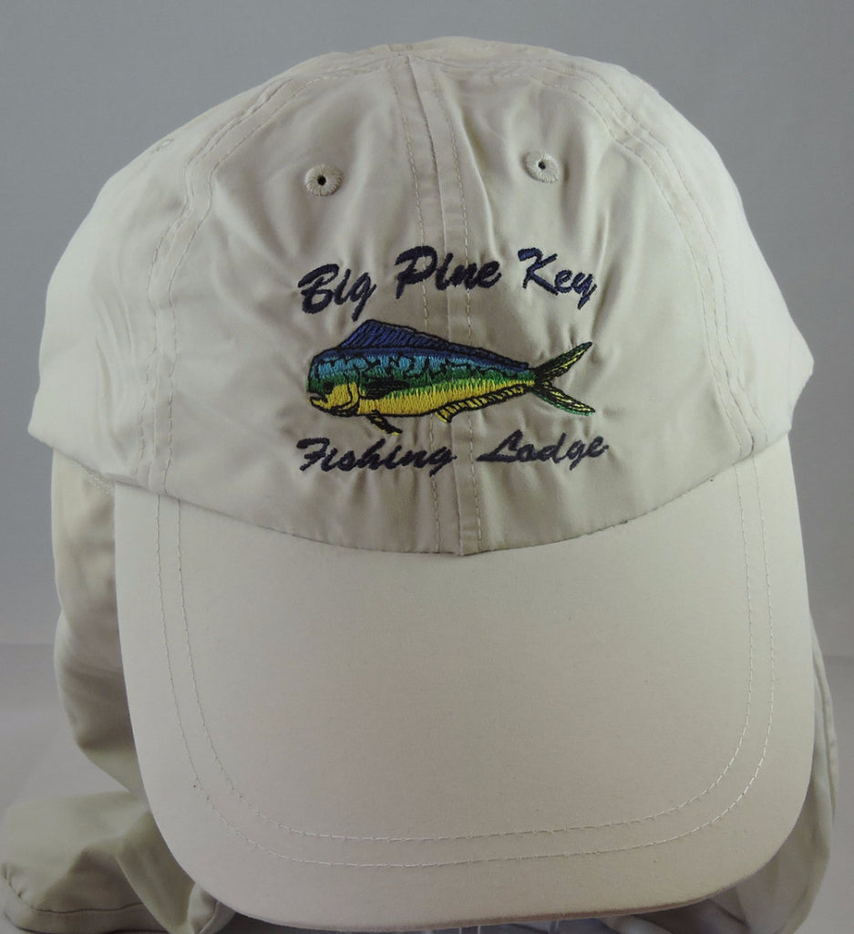 Fishing cap with adjustable fit and detachable flap