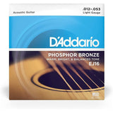 D`ADDARIO STRINGS D'Addario EJ16 Phosphor Bronze Acoustic Strings 12-53