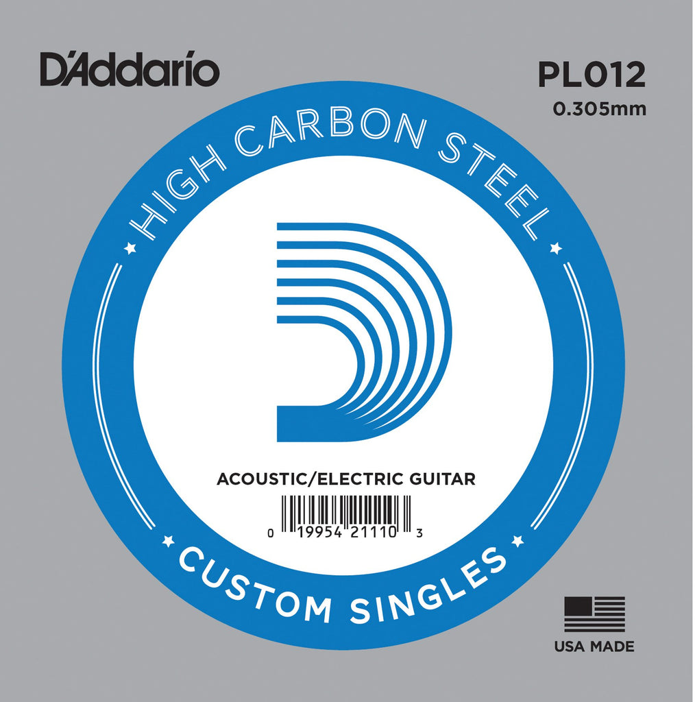 Buy D`Addario PL012 Plain Steel Electric Guitar Single String at Guitar Crazy