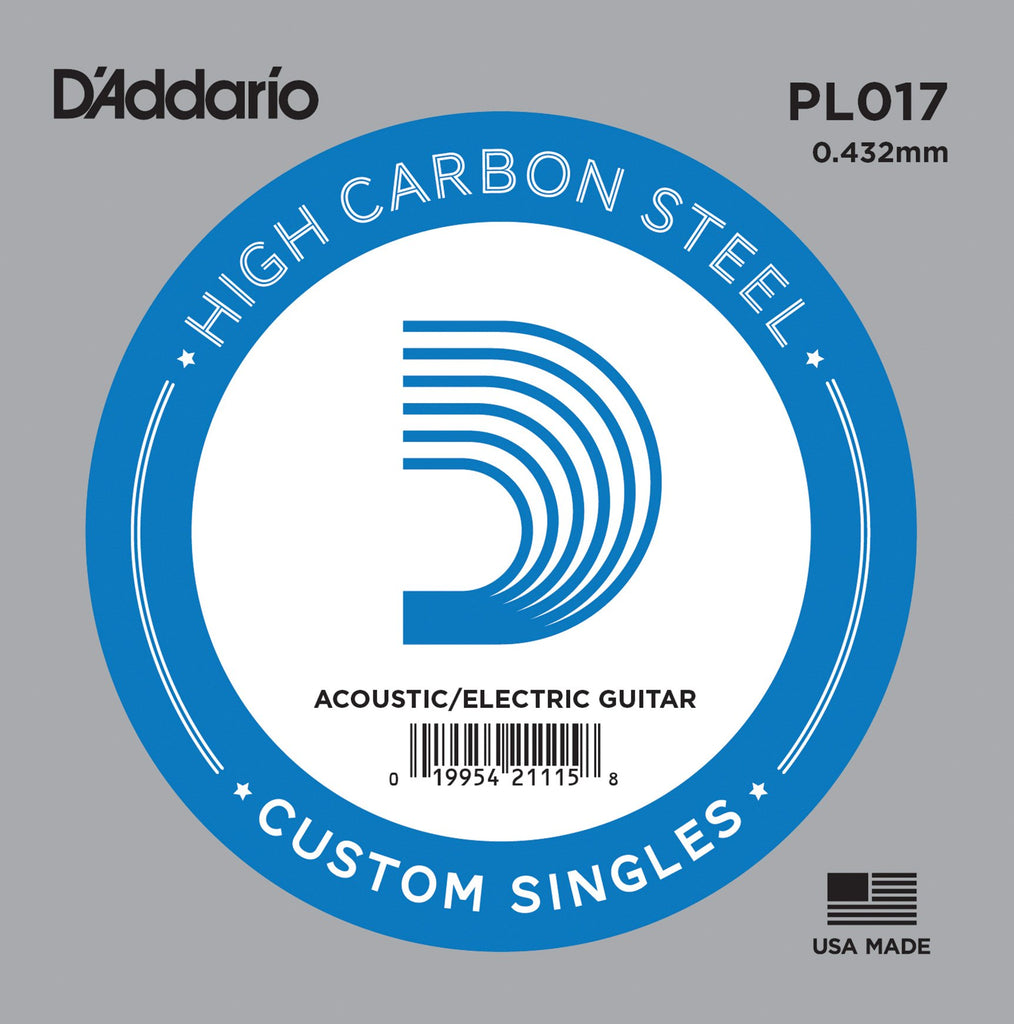 Buy D`Addario PL017 Plain Steel Electric Guitar Single String at Guitar Crazy