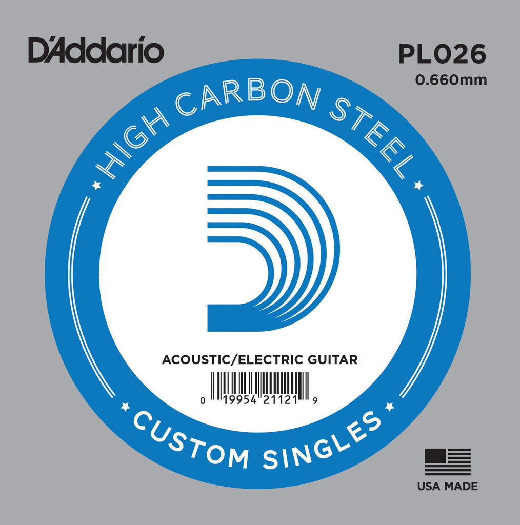 Buy D`Addario PL026 Plain Steel Electric Guitar Single String at Guitar Crazy