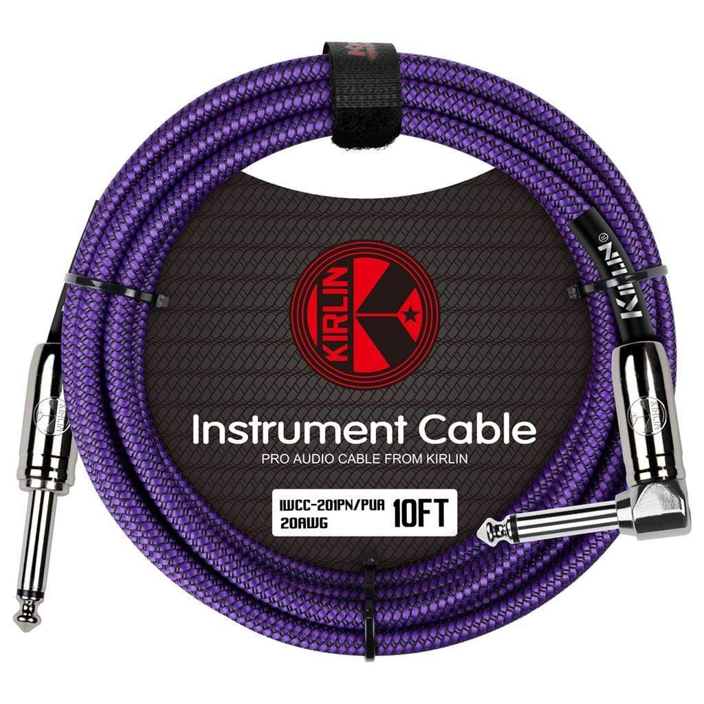 KIRLIN GUITAR CABLE Kirlin Fabric 10 ft Straight/Angle Purple Guitar Cable