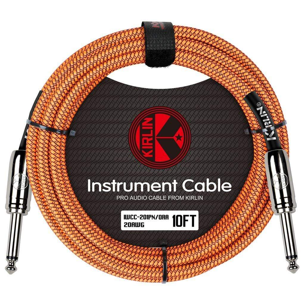 KIRLIN GUITAR CABLE Kirlin Fabric 10 ft Straight Orange Guitar Cable