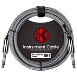 KIRLIN GUITAR CABLE Kirlin Fabric 10ft Straight Black Guitar Cable