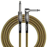 KIRLIN GUITAR CABLE Kirlin Fabric 20 ft Straight/Angle Black/yellow Guitar Cable