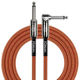 KIRLIN GUITAR CABLE Kirlin Fabric 20 ft Straight/Angle Orange Guitar Cable