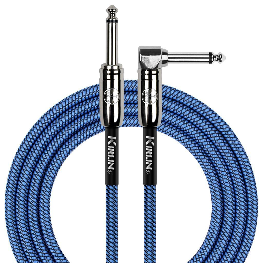 KIRLIN GUITAR CABLE Kirlin Fabric 20 ft Straight To Angle Blue Guitar Cable