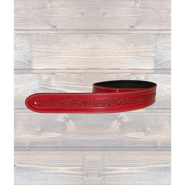 LEATHERGRAFT GUITAR STRAPS Leathergraft Celtic Embossed Red Guitar Strap