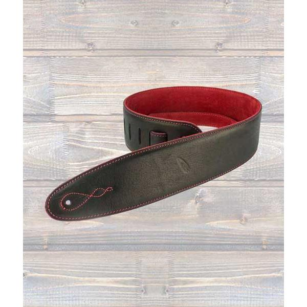 LEATHERGRAFT GUITAR STRAPS Leathergraft Pro Reversible Deluxe Leather Guitar Strap with Red Suede
