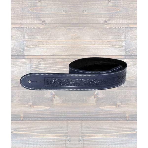 LEATHERGRAFT GUITAR STRAPS Leathergraft Running Dog Blue Embossed Guitar Strap