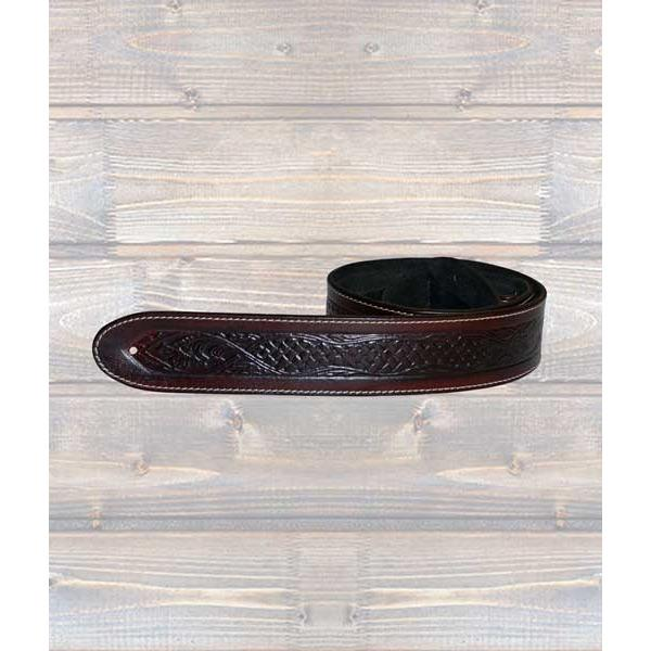 LEATHERGRAFT GUITAR STRAPS Leathergraft Texas Embossed Brown Guitar Strap