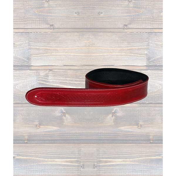 LEATHERGRAFT GUITAR STRAPS Leathergraft Texas Embossed Red Guitar Strap