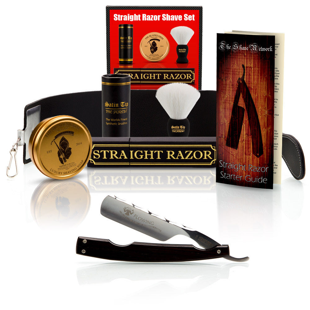 "Dovo Grenadille Flowing 6/8"" Straight Razor with Luxury Shave Set"