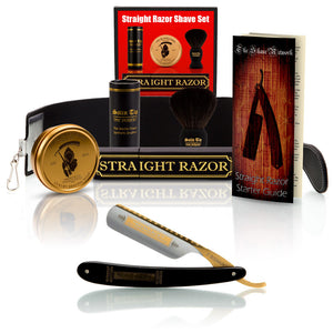"Ebony Bismarck 6/8"" Straight Razor with Luxury Shave Set"