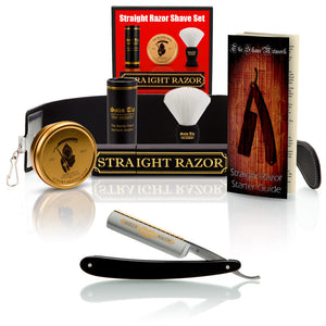 "Dovo Ebony Silver Steel 5/8"" Straight Razor with Luxury Shave Set"