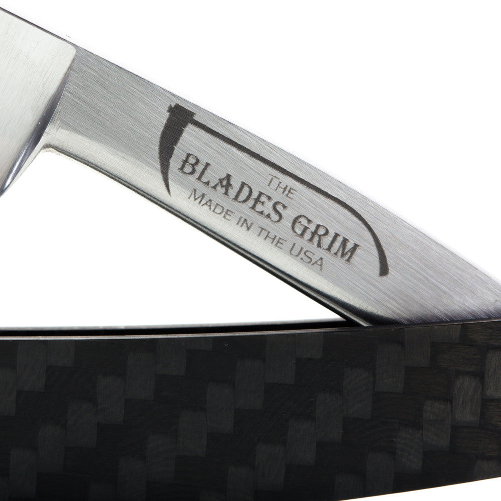 Grim Blades 6/8 Square Tip Straight Razor In Carbon Fiber