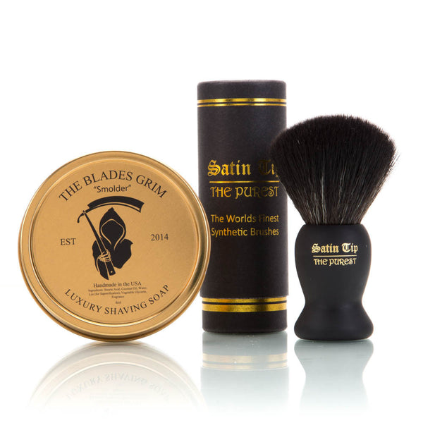 Smolder Soap and Satin Tip - The Purest Black Shave Brush Combo