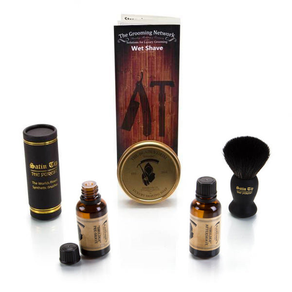6 Piece Wet Shave Set - Black Synthetic Brush