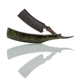 Dylan Farnham Custom Straight Razor - Green Resin With Copper, Manzanita Burl Scales