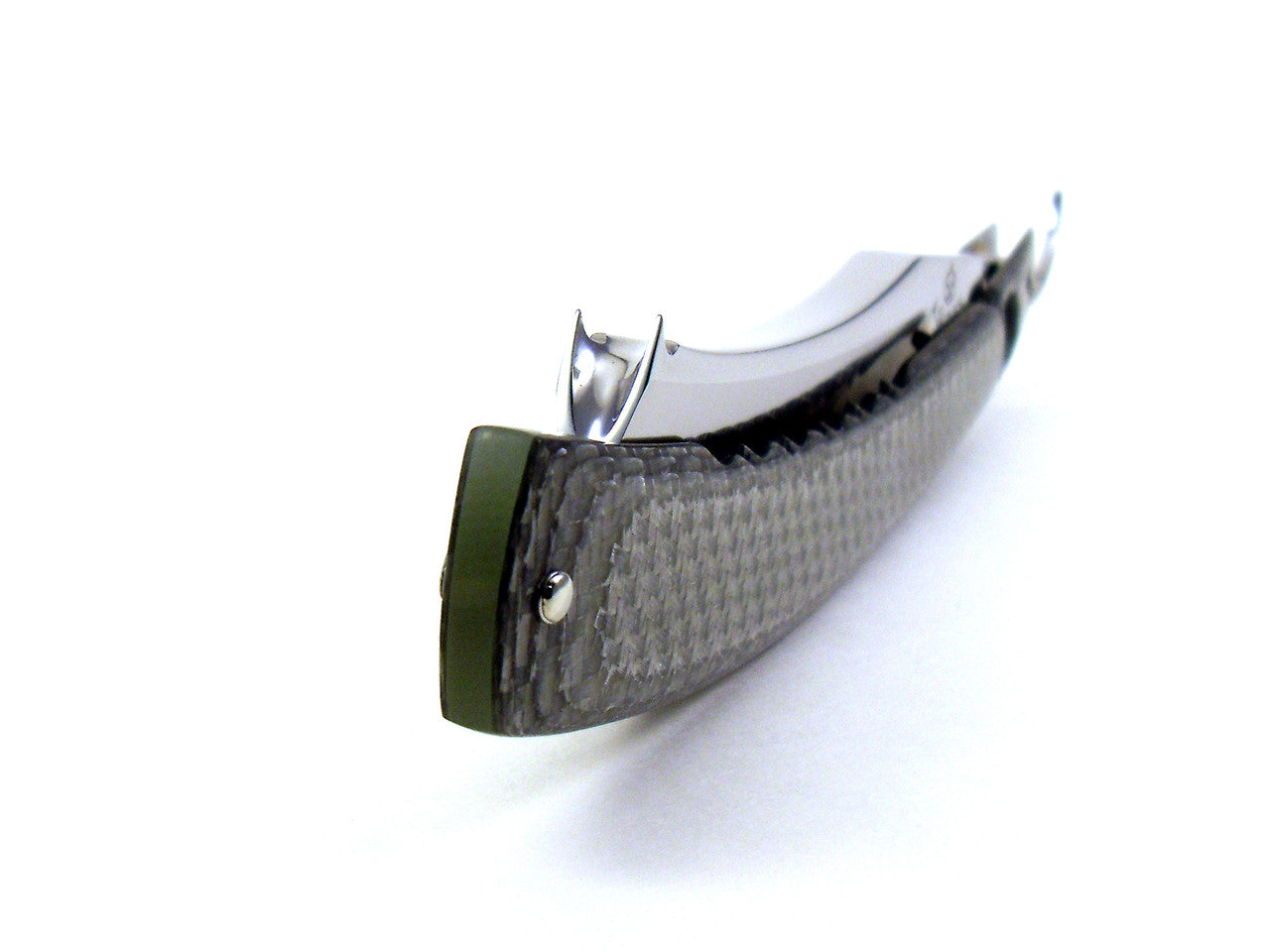 "Alex Jacques Custom Hand Carved 6/8"" Razor - With Texalium Silver G10 Scales With ""Detail"" Window"