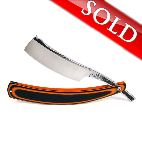"Alex Jacques Custom 7/8"" Straight Razor With ""Tiger"" Black and Orange G10 Scales"