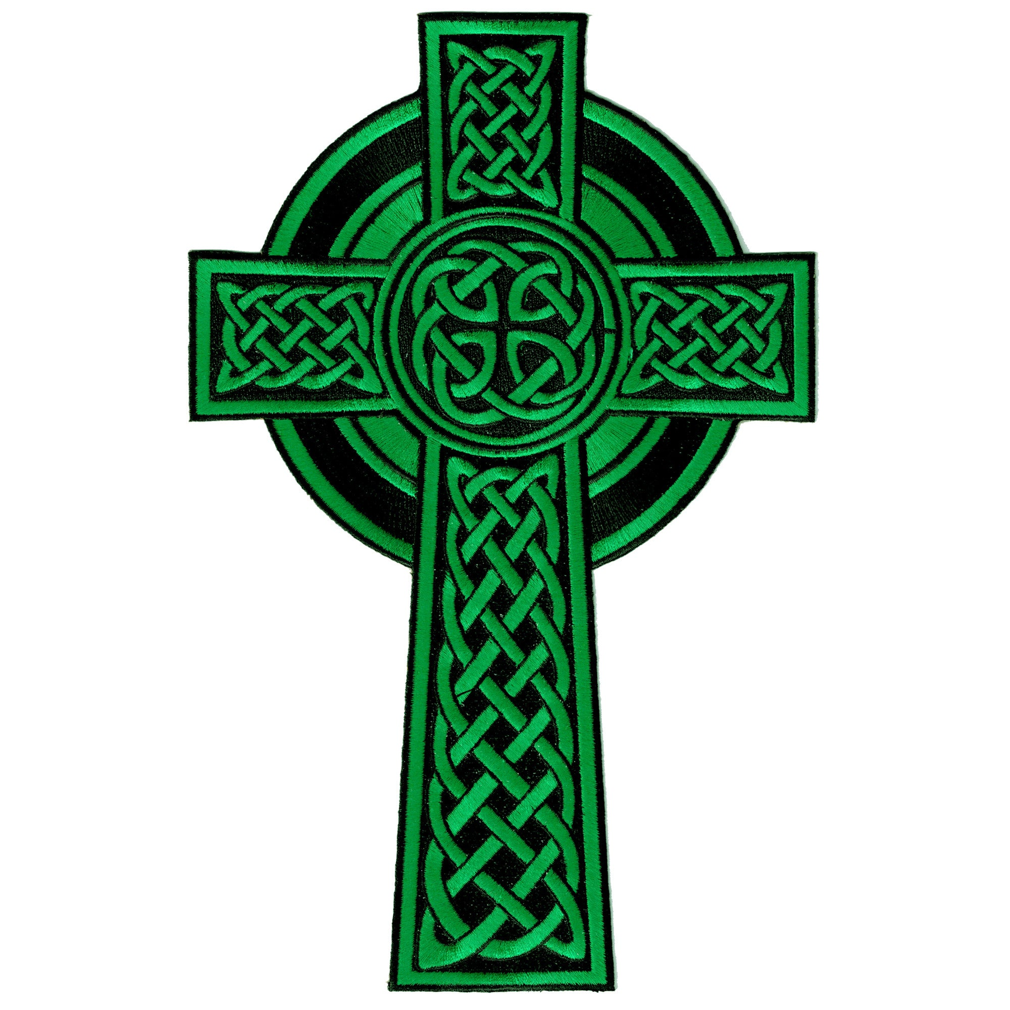 Large Green Celtic Cross Embroidered Patch | PatchAddict