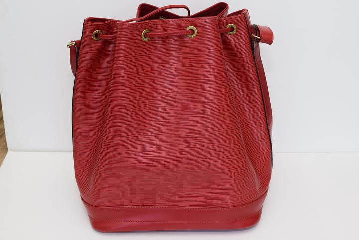 Louis Vuitton Red Epi Petite Noe Bucket Shoulder Bag. - Fashions Unlimited