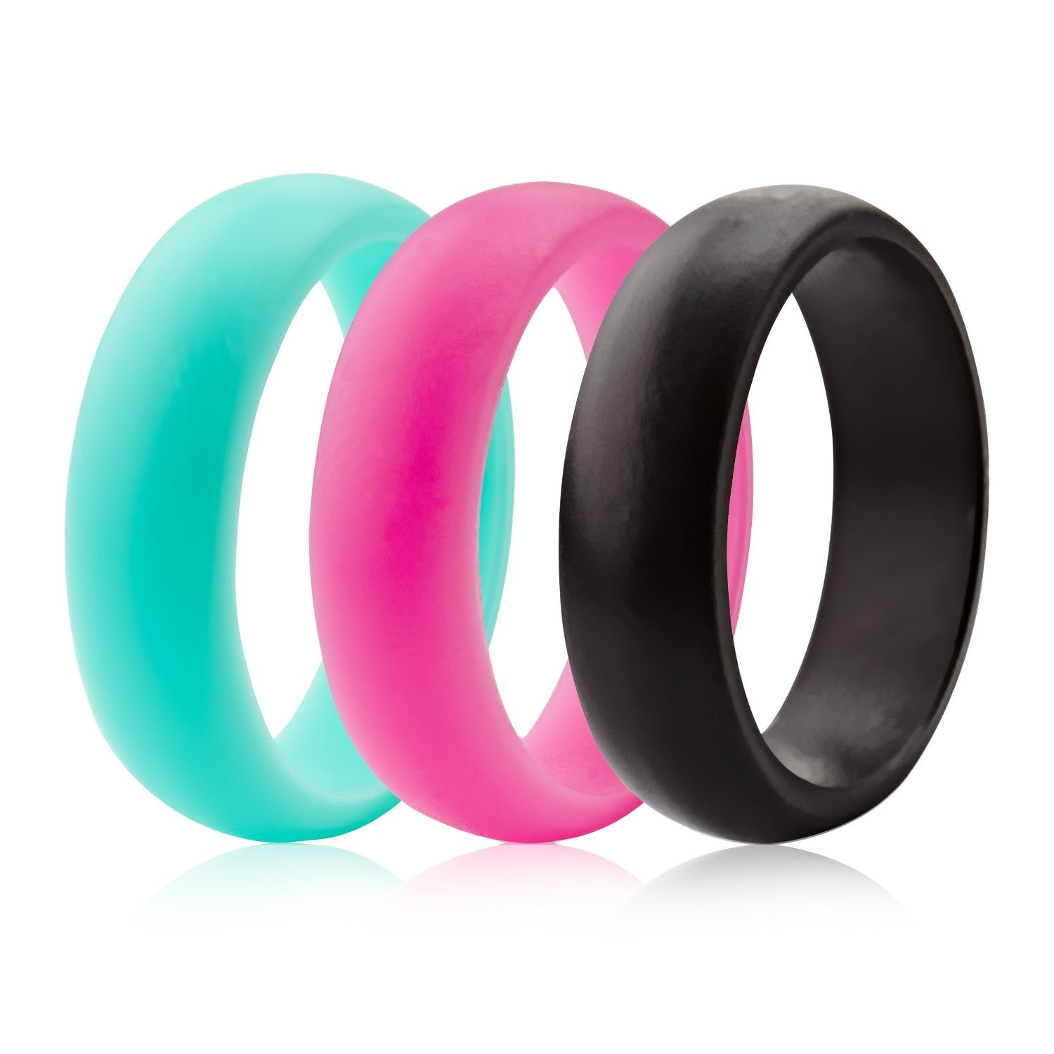 Silicone Wedding Rings - 3 Pack - Teal Pink Black - (5.5mm Wide)