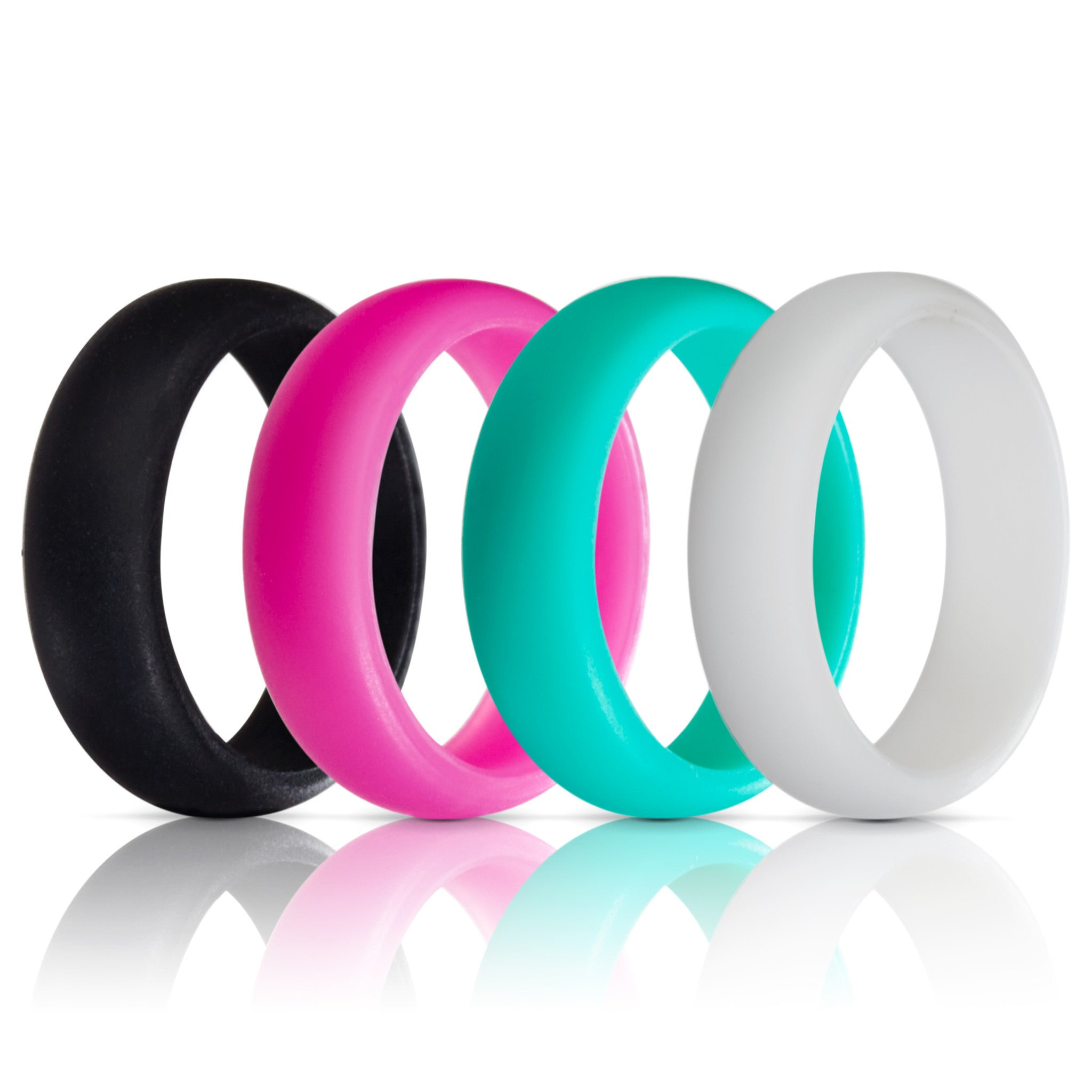 Silicone Wedding Rings - 4 Pack - Teal Pink Black White - (5.5mm Wide)