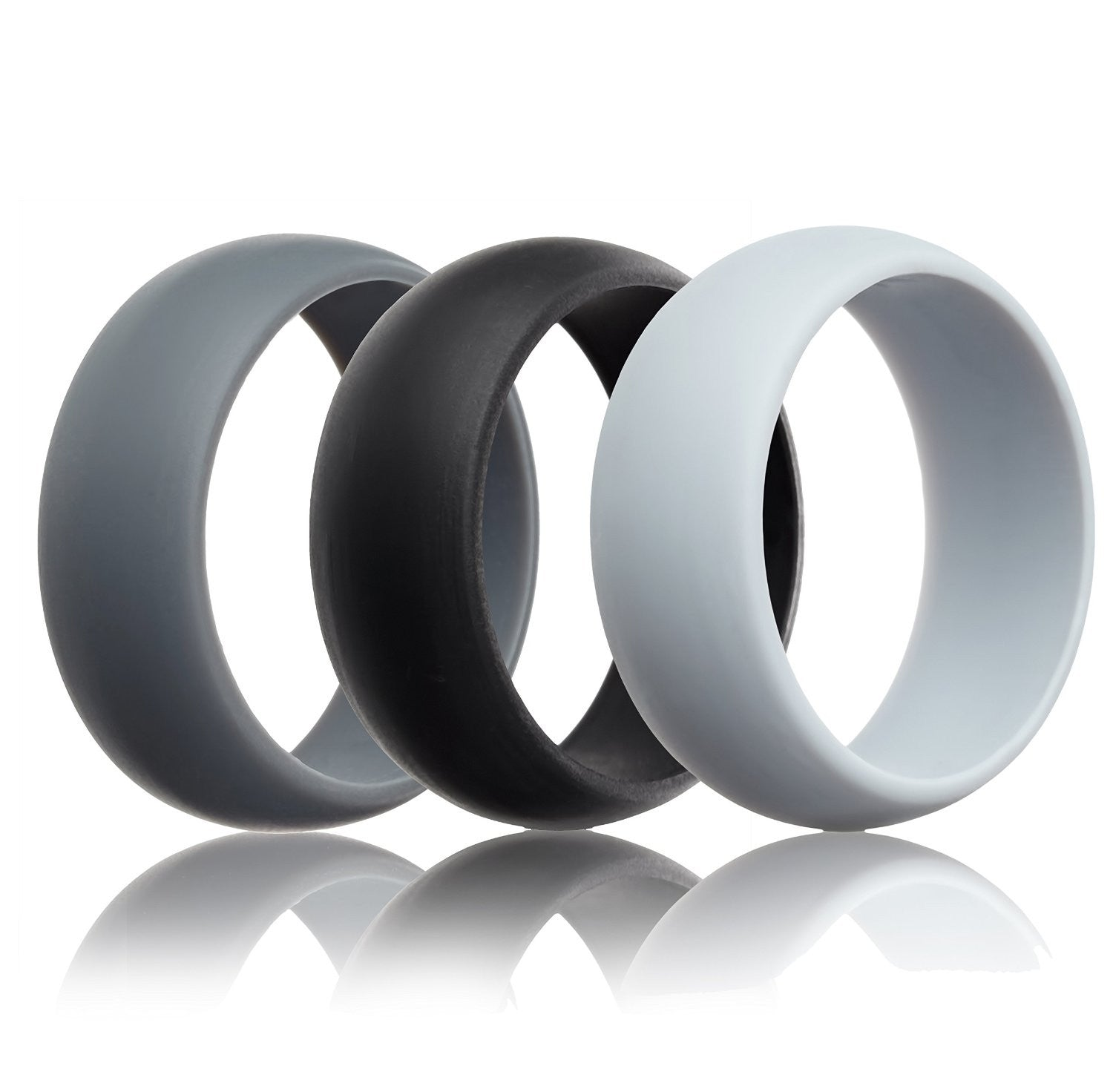 thunderfit silicone wedding ring light grey black