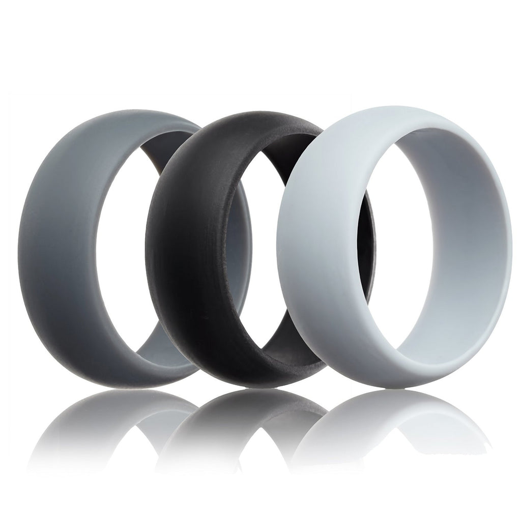 Silicone Wedding Rings 3 Pack Grey Black Light Grey 87mm
