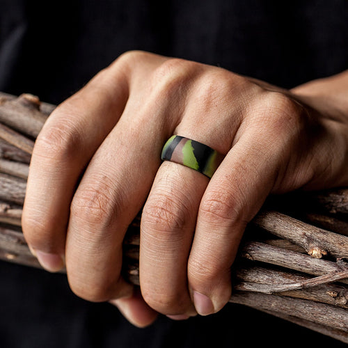 Men's Round Silicone Ring - Camo