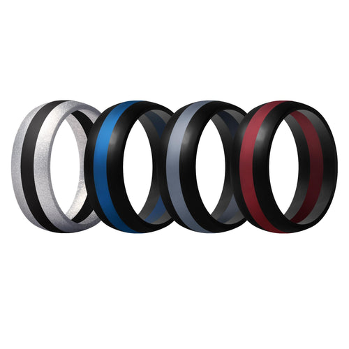 Men's Rings 4 Pack Middle Line - 7th