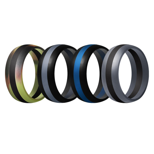 Men's Rings 4 Pack Middle Line - 8th