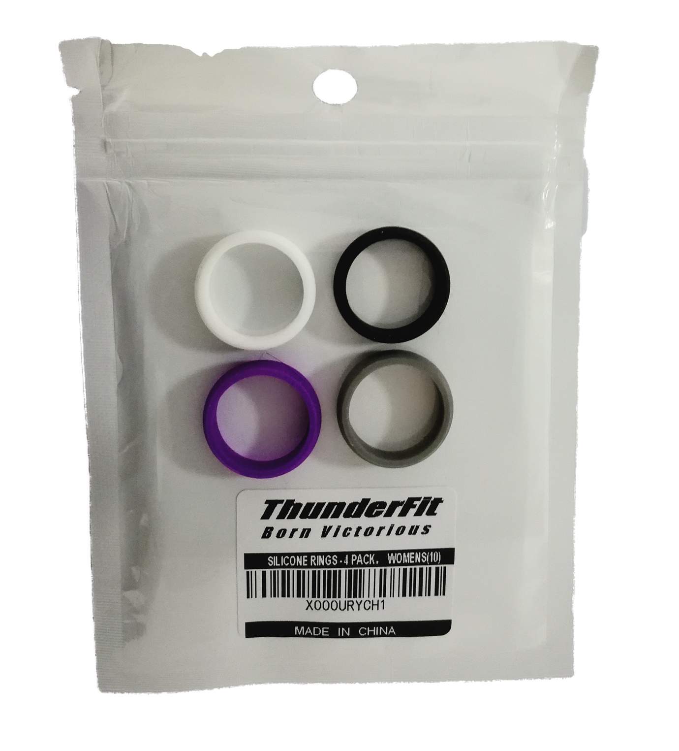 Silicone Wedding Rings - 4 Pack - Purple, Grey, White, Black (5.5mm Wide)