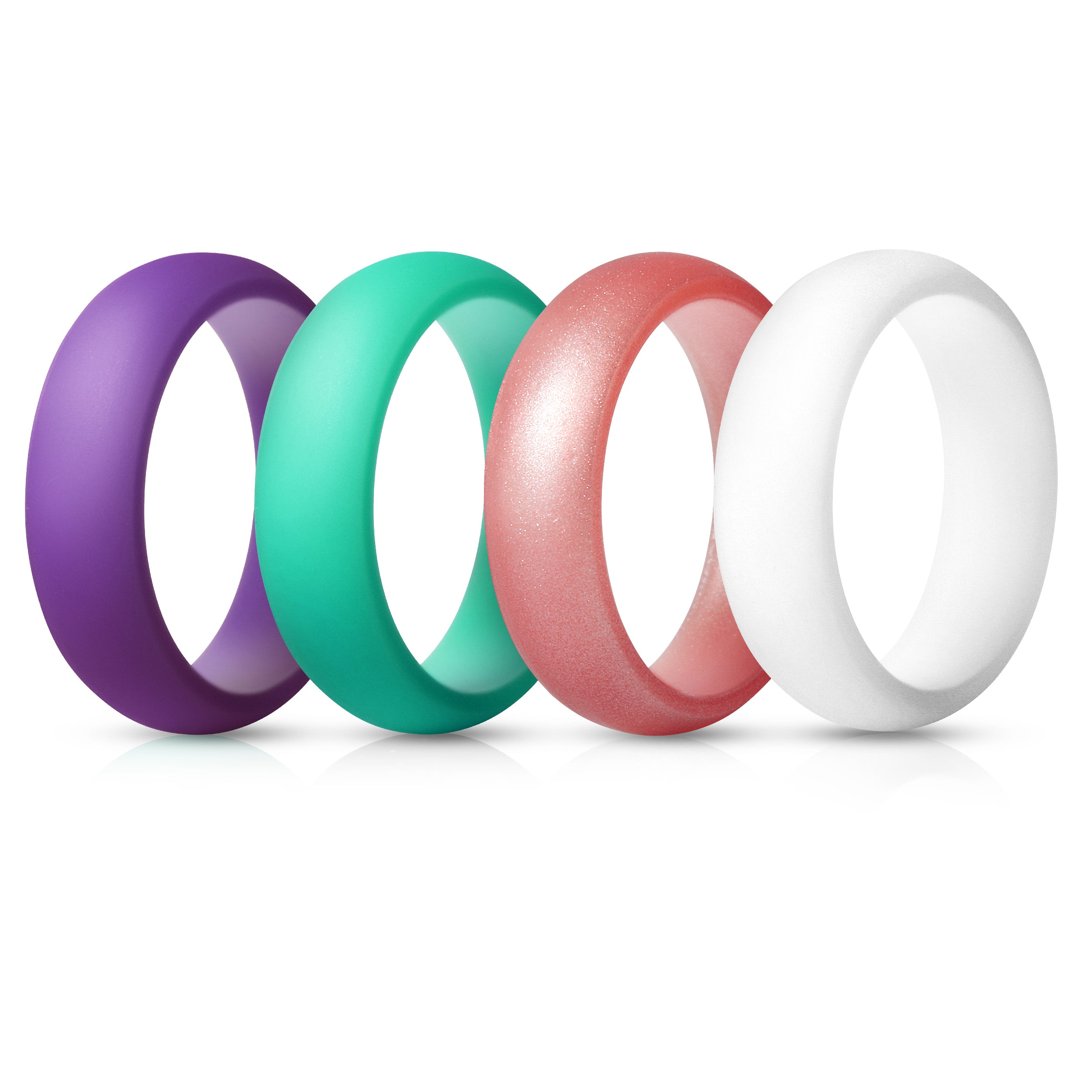 Women's Rings 4 Pack - Teal, White, Purple, Metallic Pink