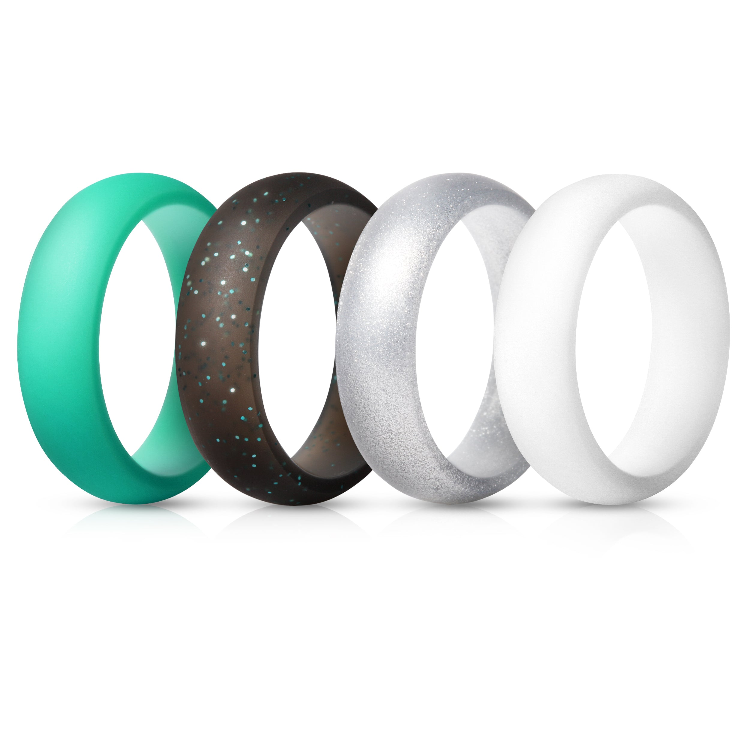 Women's Rings 4 Pack - Silver, White, Teal, Black with Teal Glitter