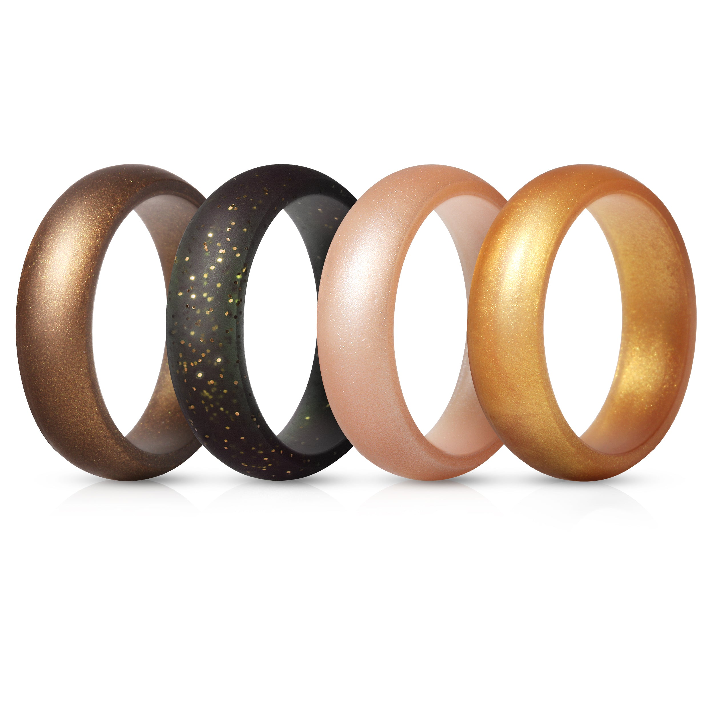 Women's Rings 4 Pack - Black with Yellow Glitter, Gold, Rose Gold, Bronze