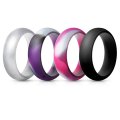 Women's Rings 4 Pack - Purple Camo, Pink Camo, Silver, Black