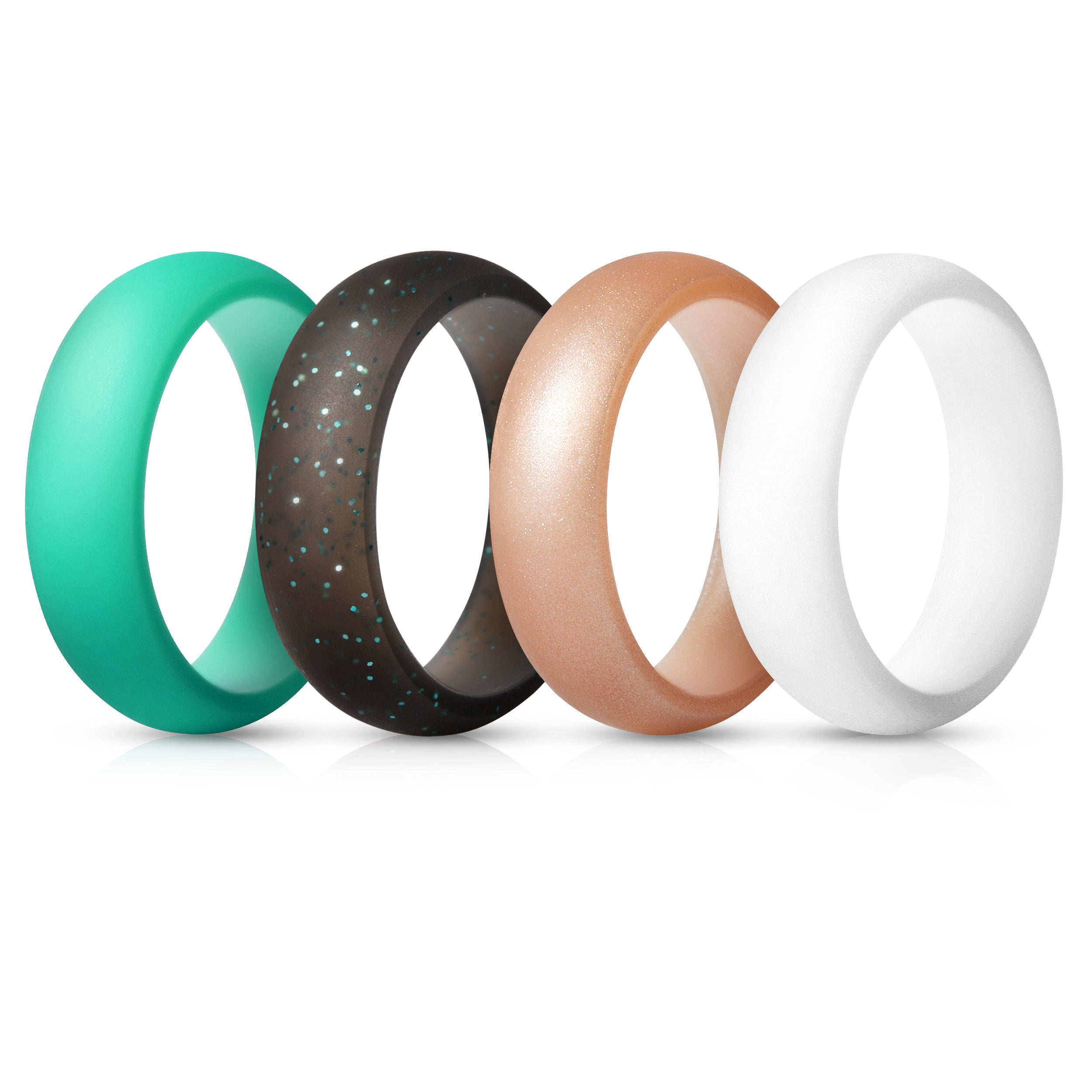 Women's Rings 4 Pack - Rose Gold, White, Teal, Black with Teal Glitter