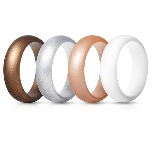 Women's Rings 4 Pack - Bronze, White, Silver, Rose Gold
