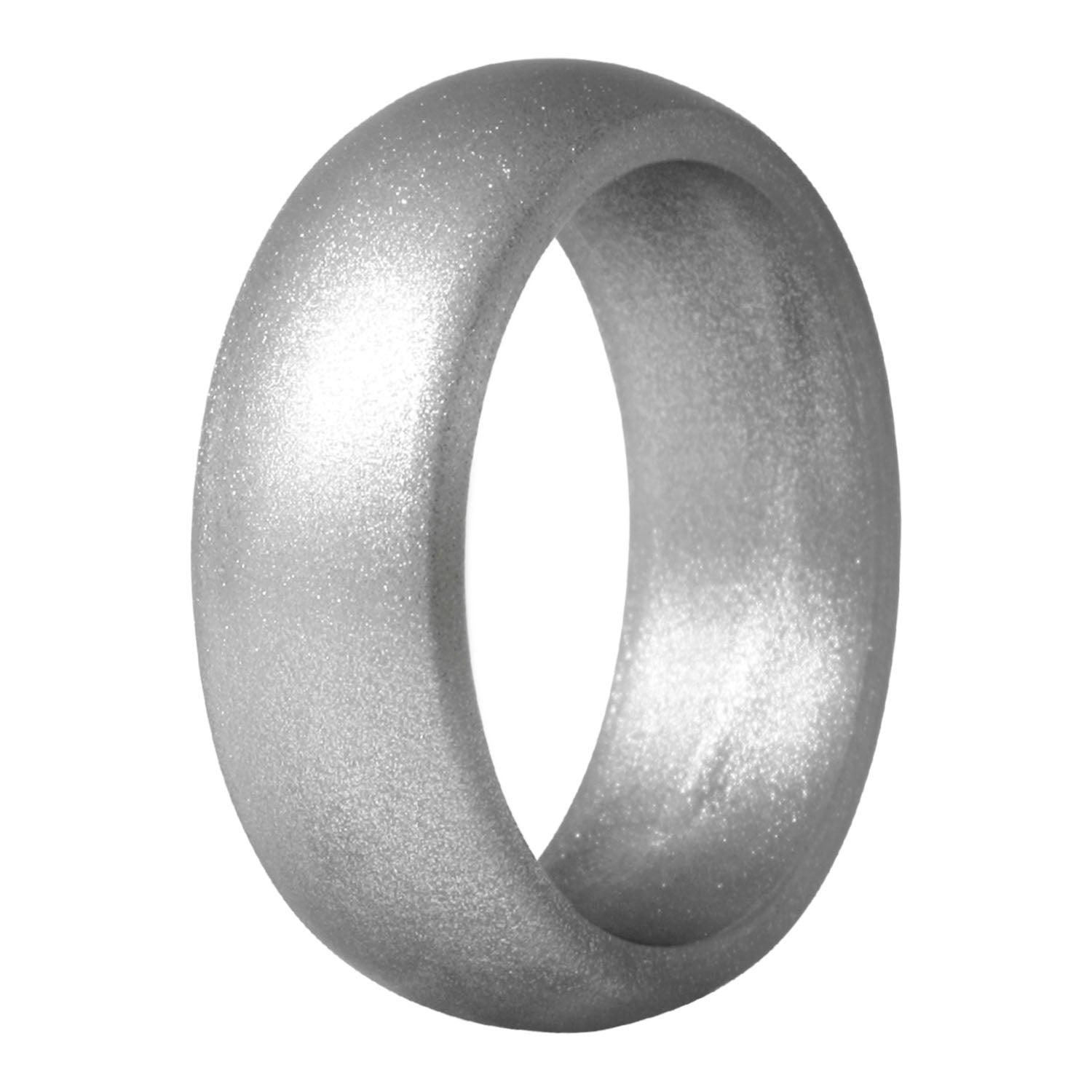 Men's Round Silicone Ring - Silver