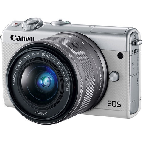 Canon EOS M100 Mirrorless Digital Camera with 15-45mm Lens (White) by Canon at B&C Camera