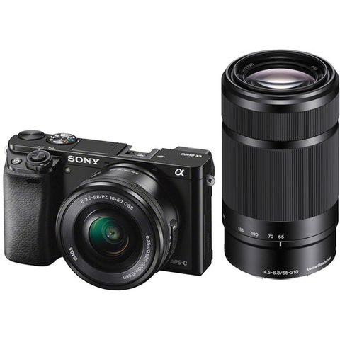 Sony Alpha a6000 Mirrorless Digital Camera with 16-50mm and 55-210mm Lenses (Black) by Sony at bandccamera