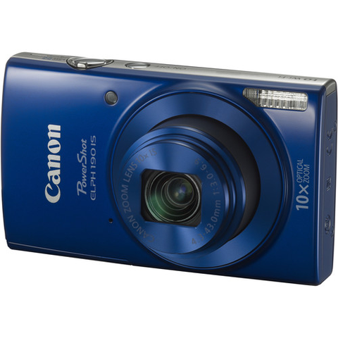 Canon PowerShot ELPH 190 IS Digital Camera (Blue) by Canon at bandccamera
