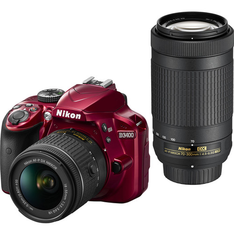 Nikon D3400 W 18-55mm VR & 70-300mm F/4.5-6.3G ED Double Zoom Lens Kit (Red) by Nikon at B&C Camera